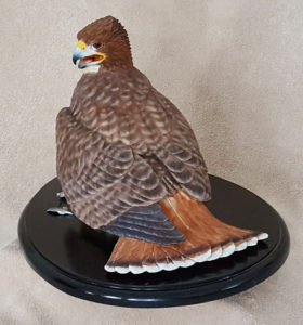 Hand carved red-tailed hawk