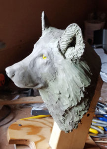Sculpture, Gray Wolf, Clay model, fine art