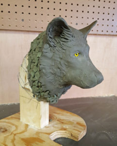 Sculpture, gray wolf, fine art.