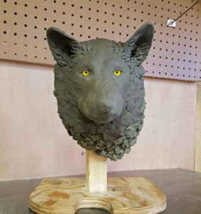 sculpting, fine art, gray wolf