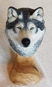 gray wolf, sculpture, carving, fine art, wildlife art