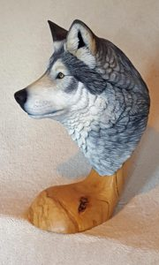 Gray wolf, sculpting, Carving, wildlife, fine art