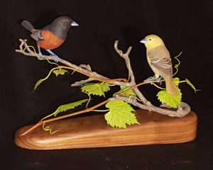 Dorchard Orioles, sculpture, Sculpting, wood carving, Wildlife, birds, nature, fine art, birds.