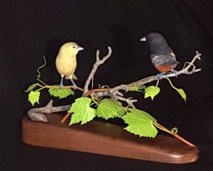 sculpting, wood carving, bird carving, Orchard Orioles, nature, fine art,
