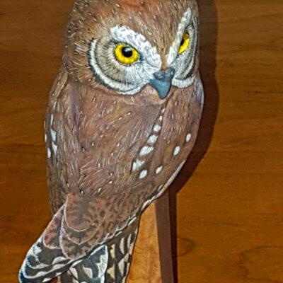 Owl, elf owl, birds, wood carving, sculputure, fine art,