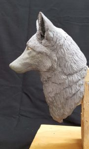 sculpting, carving, red fox. wood carving.