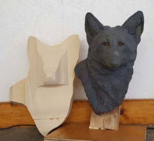 sculpting, wildlife sculpting, wood carving, red fox, fox sculpture, wildlife art