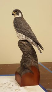 wood carving, wood sculpture, wildlife art, fine art, peregrine falcon, raptors, birds of prey