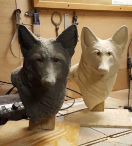 Sculpting, wood carving, fine art, red fox, wildlife art