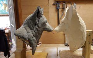sculpting, wood carving, red fox, fine art, wildlife art.