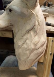 sculpting, Wood carving, fine art, red fox.