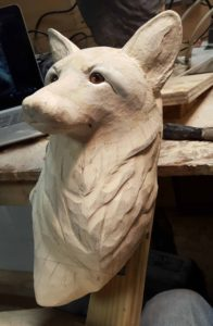 sculpting, wood carving, red fox, fine art.