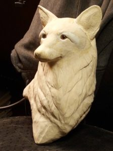wood carving. Wood sculpting, wildlife art, fine art, red fox.