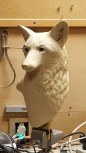 red fox, sculpture, wildlife art, wood carving,fine art