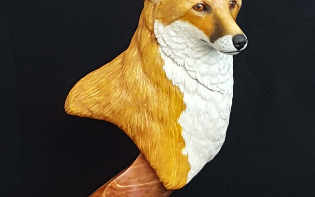 red fox, wildlife art , wood carving, sculpture, wildlife sculpture, wildlife art, wood carving