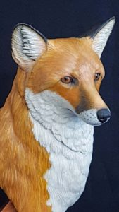 red fox, wildlife art, wildlife sculpting, wood carving, fine art,